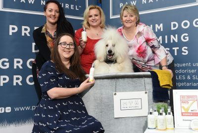 The Paw Naturel team and Dougal the poodle