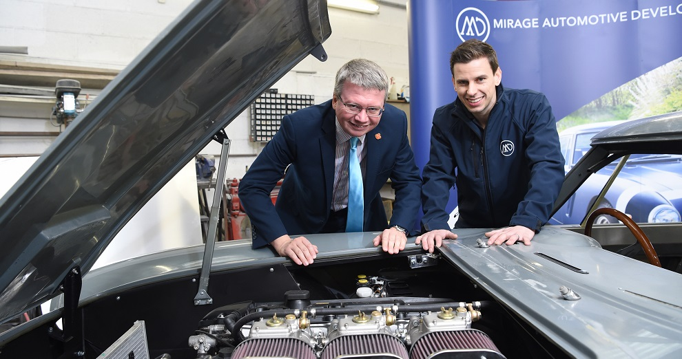 County Cllr Michael Green and MD Matt Potts from Mirage Auto